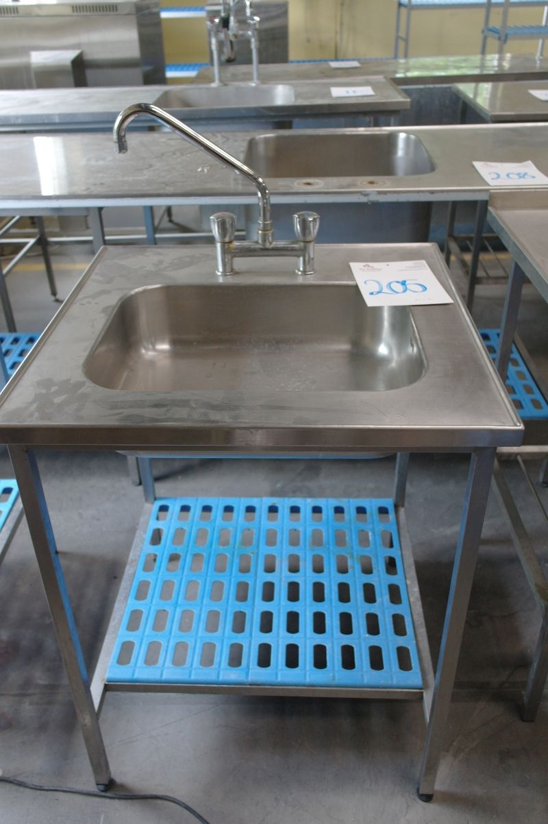 Stainless steel table with sink 70 x 70 cm + stainless steel frame ...