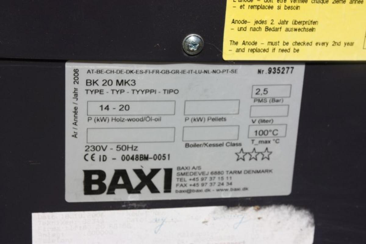 Oliekedel, Baxi type 14-20, BK20 MK 3. Med varmtvandsbeholder og skorsten, 3 meter + inddækning ...
