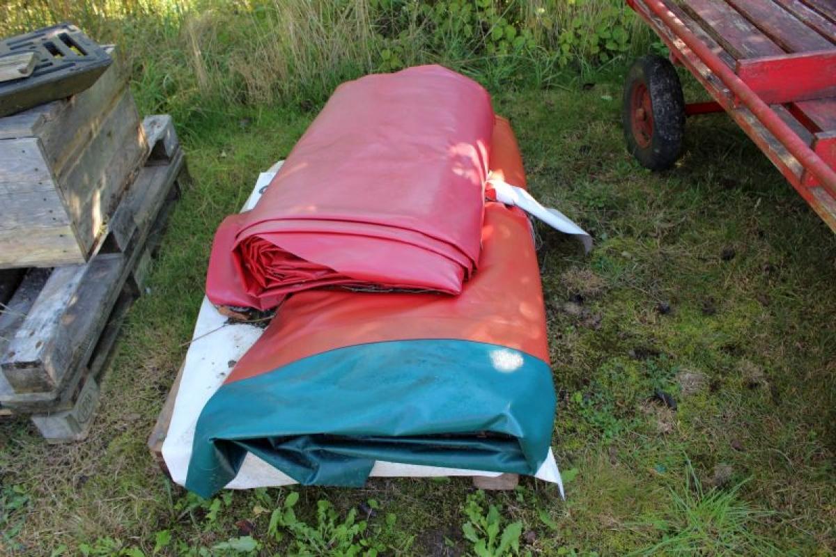 Hoppepude 4 x 8 meter til nedgravning har aldrig v u00e6ret i brug Inkl Ankerjern og luftsla
