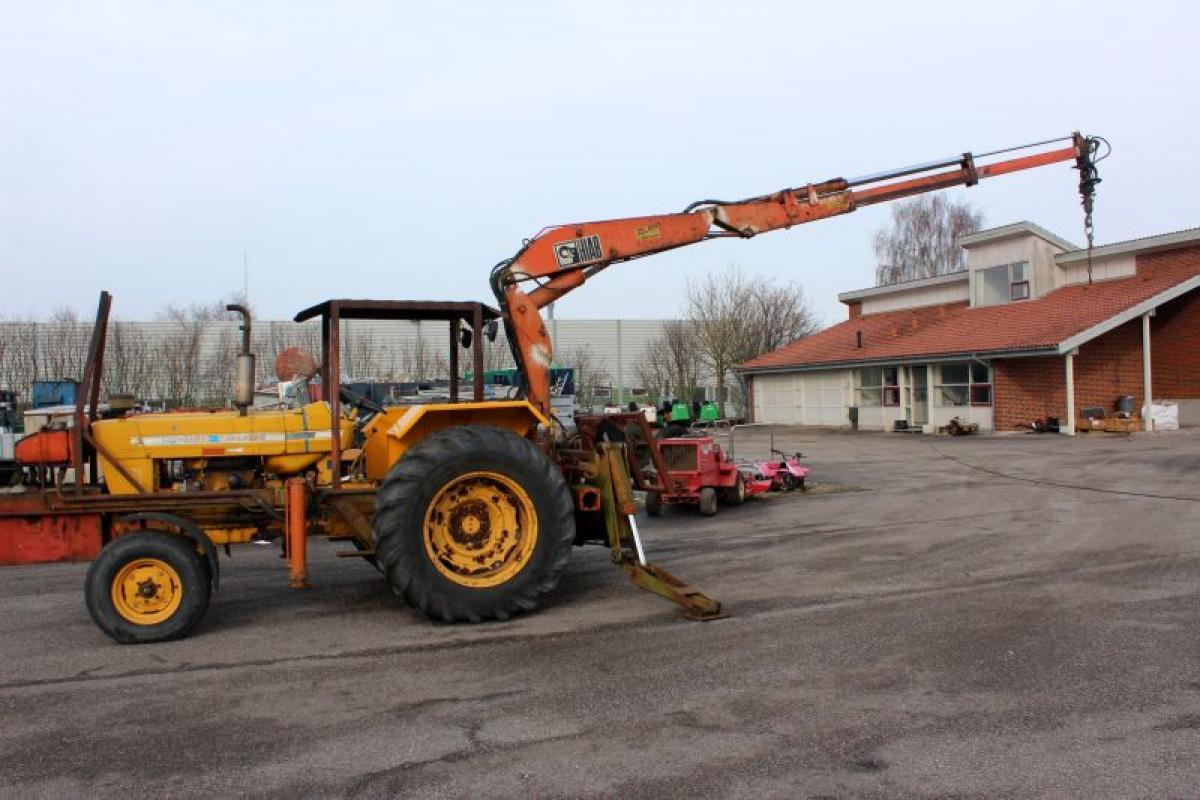 Traktor Ford 5000 med kran timer 4948 Hiab 650 m 2 hydr udskud med rotator og udtag til grab ...