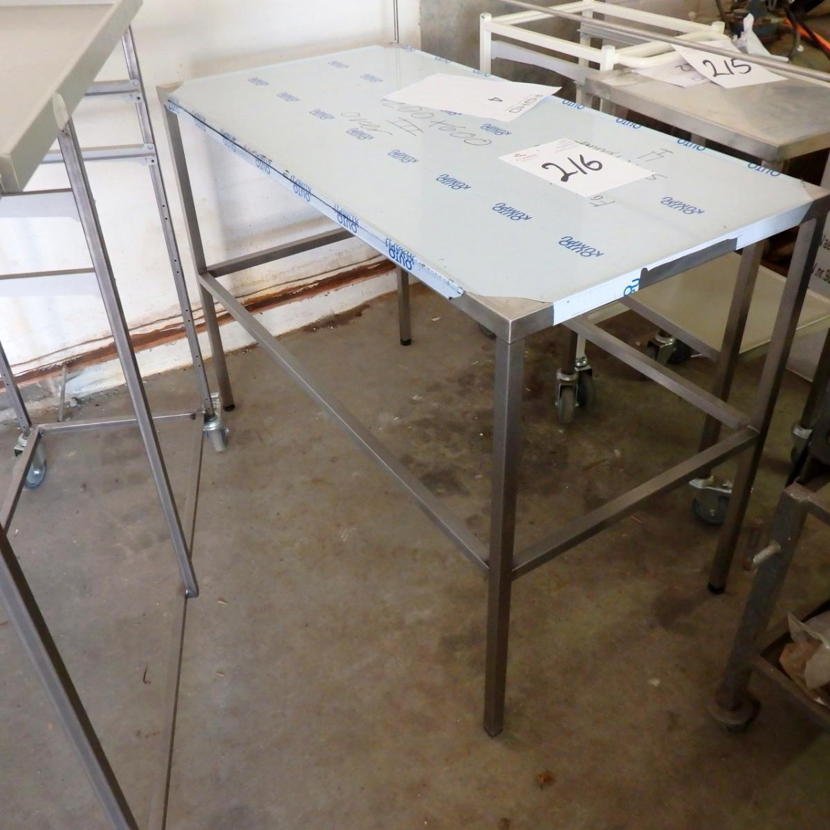 rustfri bord Rustfri bord med gallerikant 120 x 60 x 85 cm. + bord på hjul   KJ  rustfri bord
