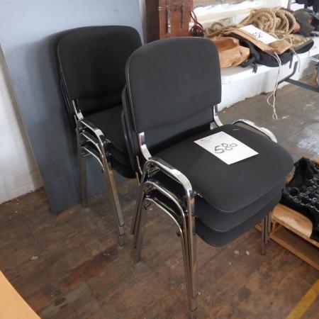 6 Stühlen Mit Schwarzem Stoff + Tisch Mit Stahlbeine, Zusammenklappbar