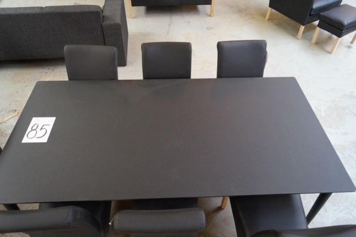 Schwarzes Mdf esstisch schwarz mdf l 200 x b 100 cm mit kleinen kratzern 6 tlg