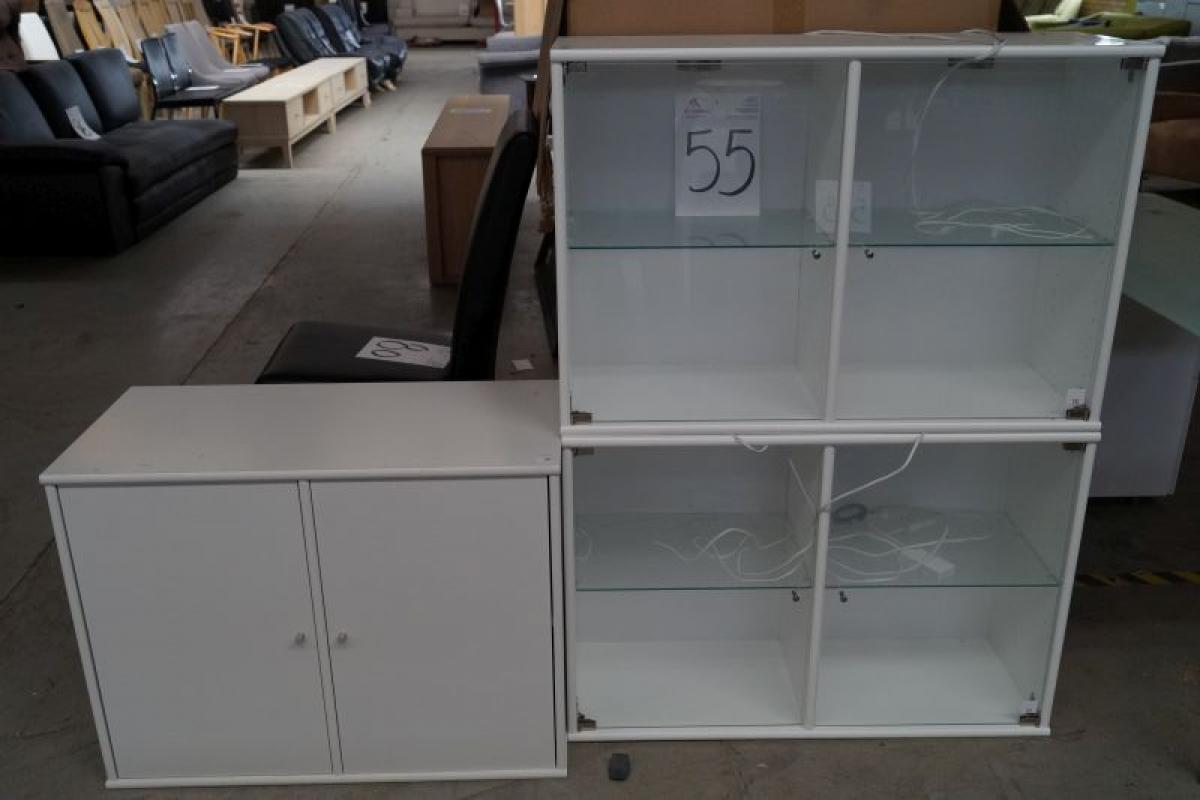 Türeneinbau  Anrichte w / ben m. 2 Schränke + 2. vitrine m. Glasböden und Türen ...