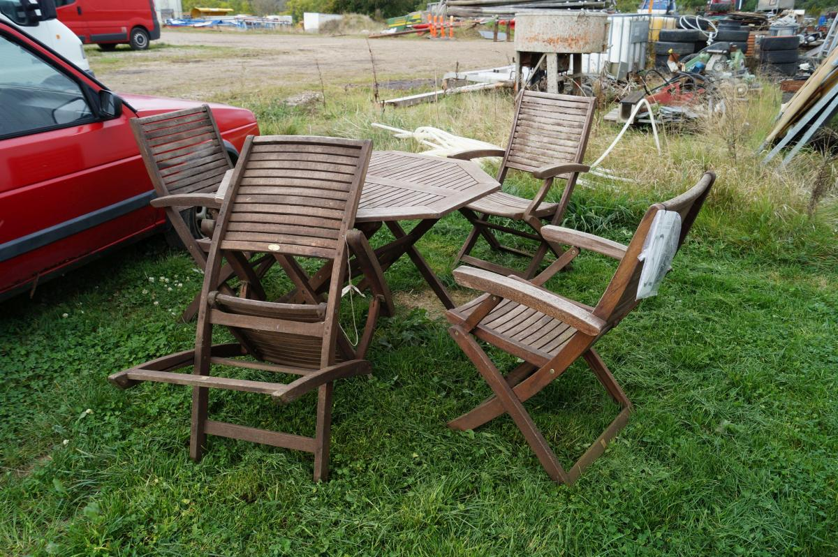 Gartenmöbel-Set, 1 Tisch, 4 Stühle, Teak Holz, Jutlandia - KJ ...
