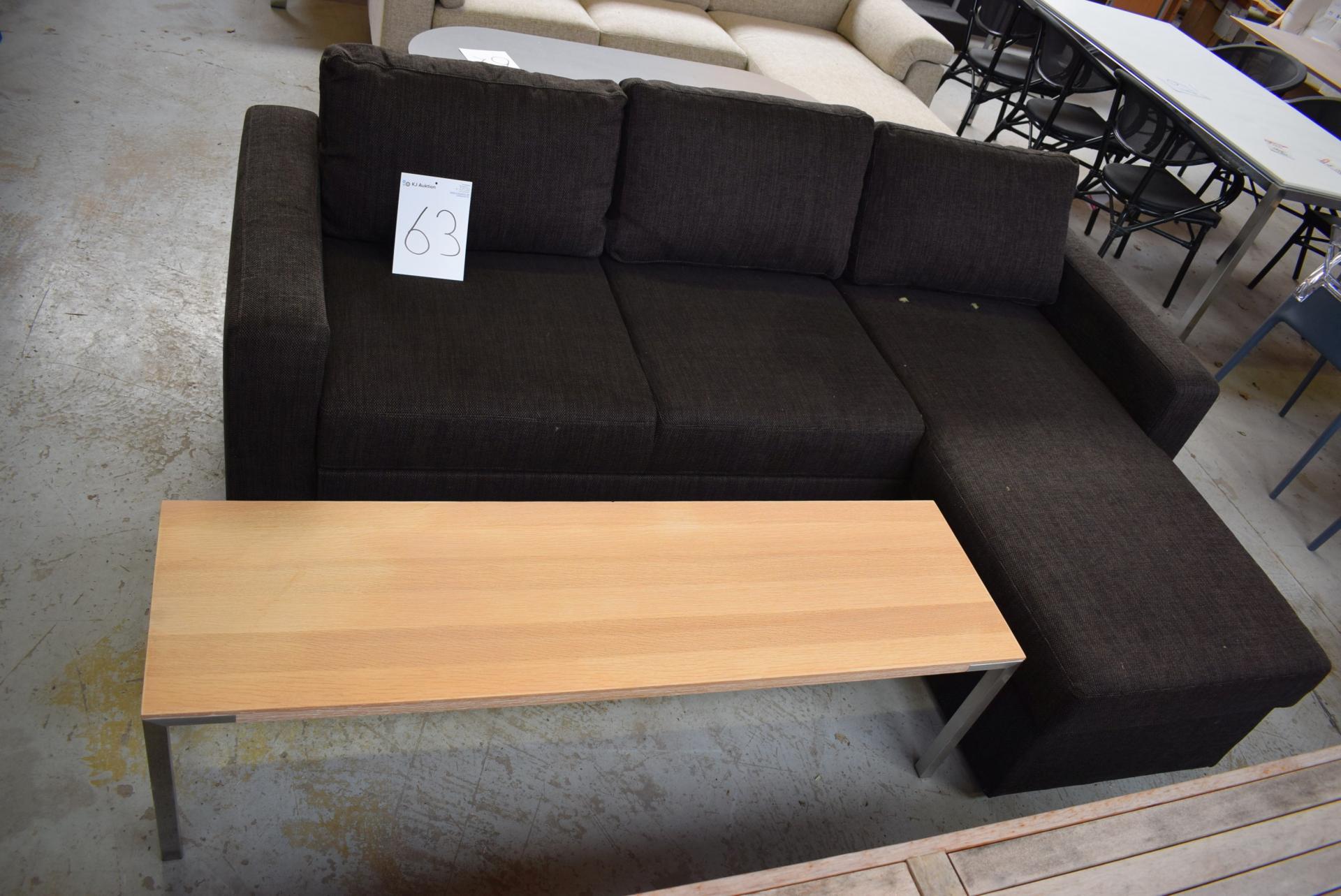 sofa med chaiselong brun