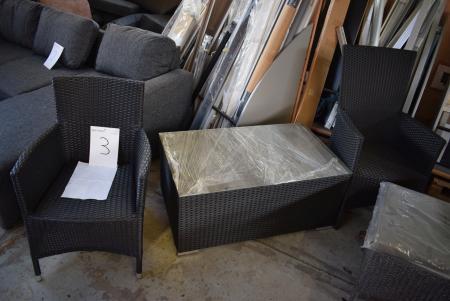 2 stk. fletstole + glasbord