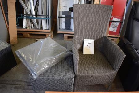 1 stk. fletstol + skammel med hynde