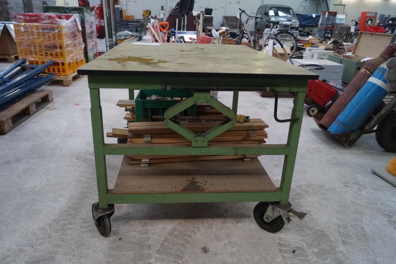 arbeitstisch / werkstatt tisch auf rollen, 100 cm x 138 cm - kj