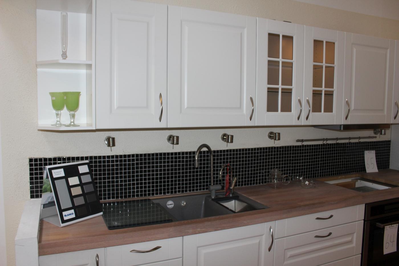 Køkken, Køkken massiv hvidolieret ege-bordplade m/underlimet silgranit vask, udtræksemhætte, 414 ...